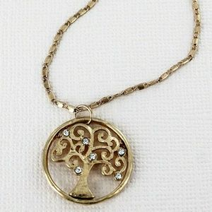 Jewelry - CRAVE WORN GOLDTONE AND CRYSTAL TREE OF LIFE NECKL
